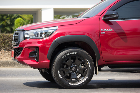 CHIANG MAI, THAILAND -FEBRUARY 27 2018: Private Pickup Truck Car New Toyota Hilux Revo  Rocco. On road no.1001, 8 km from Chiangmai city.