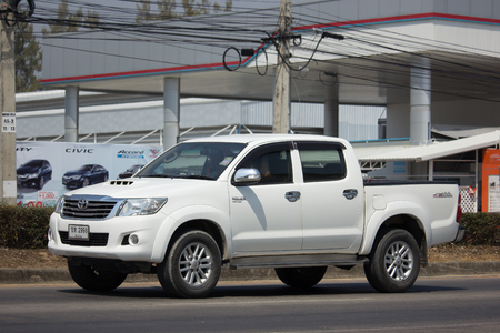 CHIANG MAI, THAILAND -FEBRUARY 27 2018: Private Toyota Hilux Vigo  Pickup Truck.  On road no.1001 8 km from Chiangmai city.