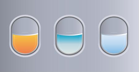 비행기 창문의 절반 가까이 벡터 및 일러스트