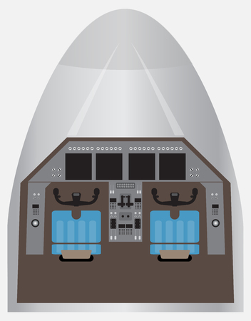 Twin Engine Passenger Airplane Cockpit Vector and Illustration Illustration