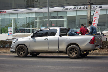 CHIANG MAI, THAILAND -MARCH 2 2018:  Private Pickup Truck Car Toyota Hilux Revo. On road no.1001, 8 km from Chiangmai city. Editorial