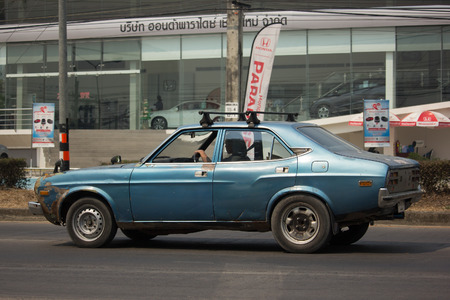 CHIANG MAI, THAILAND -MARCH 6 2018:  Private Old car, Mazda 929 car. Photo at road no 121 about 8 km from downtown Chiangmai, thailand.