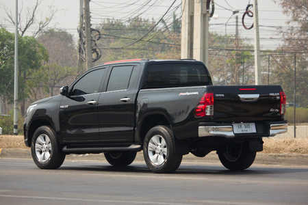 CHIANG MAI, THAILAND -MARCH 6 2018:  Private Pickup Truck Car New Toyota Hilux Revo  Rocco. On road no.1001, 8 km from Chiangmai city.
