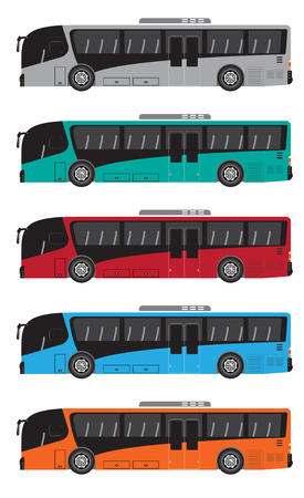 Set of Low floor city Bus  Vector and Illustration