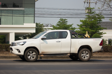 CHIANG MAI, THAILAND -MARCH 6 2018: Private Pickup Truck Car Toyota Hilux Revo. On road no.1001, 8 km from Chiangmai city.