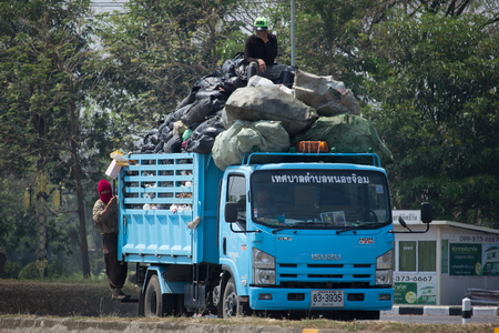 CHIANG MAI, THAILAND -MARCH 13 2018: Garbage truck of Nongjom Subdistrict Administrative Organization.  On road no.1001, 8 km from Chiangmai Business Area.