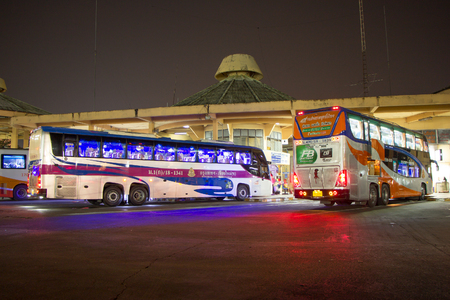 CHIANG MAI, THAILAND - APRIL 11 2018:  Scania  bus of Transport government company.  Bus  route Bangkok and Chiangmai.  Photo at Chiangmai bus station.