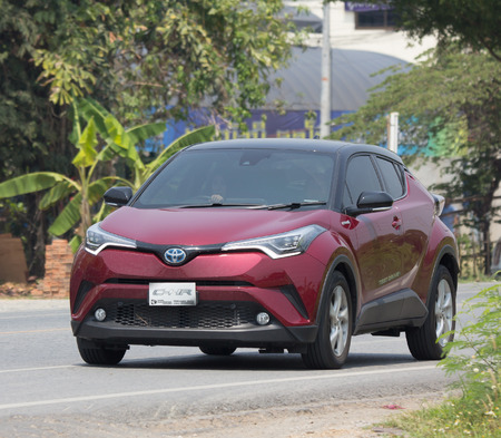 CHIANG MAI, THAILAND - APRIL 20 2018:  New Toyota CHR Subcompact Crossover SUV Hybrid Car. Car on road No.121 to Chiangmai City. Editorial