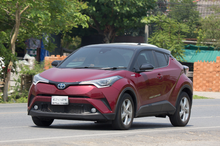 CHIANG MAI, THAILAND - APRIL 20 2018:  New Toyota CHR Subcompact Crossover SUV Hybrid Car. Car on road No.121 to Chiangmai City. Redakční