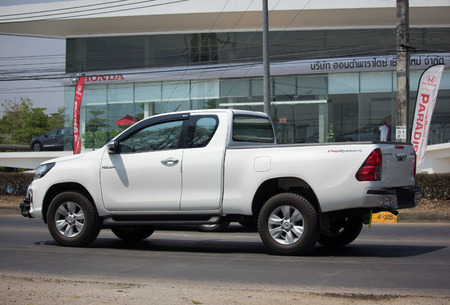 CHIANG MAI, THAILAND -MARCH 27 2018: Private Pickup Truck Car New Toyota Hilux Revo  Rocco. On road no.1001, 8 km from Chiangmai city. Editorial