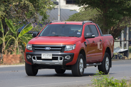 CHIANG MAI, THAILAND - APRIL  5 2018: Private Pickup car, Ford Ranger. On road no.1001, 8 km from Chiangmai city. 新聞圖片