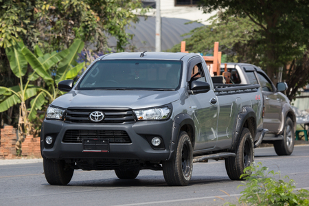 CHIANG MAI, THAILAND - APRIL 8 2018: Private Pickup Truck Car Toyota Hilux Revo. On road no.1001, 8 km from Chiangmai city.