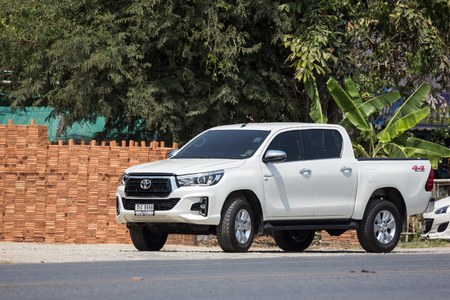 CHIANG MAI, THAILAND - APRIL 8 2018: Private Pickup Truck Car New Toyota Hilux Revo  Rocco. On road no.1001, 8 km from Chiangmai city. Editorial