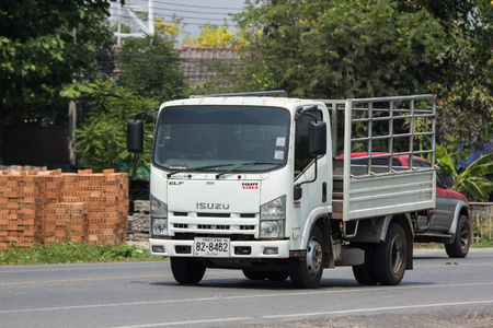 CHIANG MAI, THAILAND - APRIL 20 2018: Private Isuzu  Cargo Truck. Photo at road no.1001 about 8 km from downtown Chiangmai, thailand. Editorial
