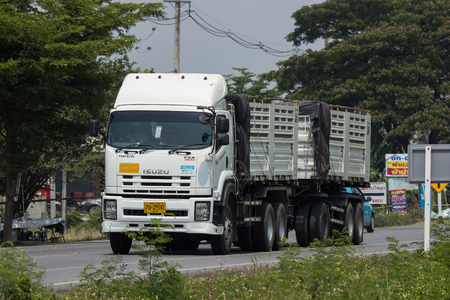 CHIANG MAI, THAILAND - APRIL 20 2018: Private Isuzu  Cargo Dump  Truck. Photo at road no.1001 about 8 km from downtown Chiangmai, thailand. Editorial