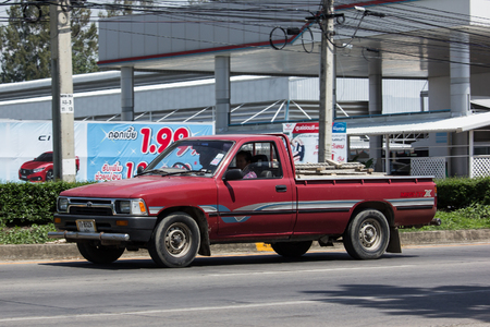 CHIANG MAI, THAILAND - MAY 18 2018: Private old Pickup car, Toyota Hilux Mighty X. On road no.1001, 8 km from Chiangmai city.