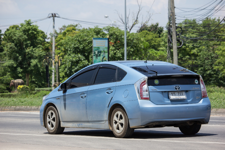 CHIANG MAI, THAILAND - MAY 18 2018: Private car Toyota Prius Hybrid System. On road no.1001 8 km from Chiangmai Business Area.