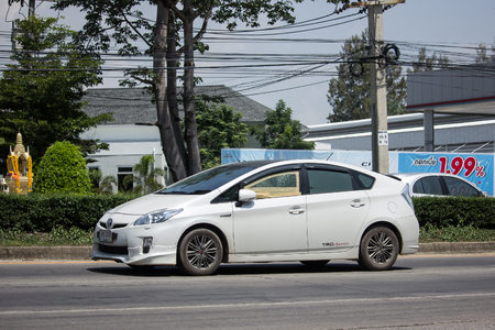 CHIANG MAI, THAILAND - MAY 21 2018: Private car Toyota Prius Hybrid System. On road no.1001 8 km from Chiangmai Business Area.