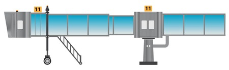 Glass aero bridge or Jetway or Jet bridge Isolated on white background Illustration