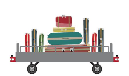 Airport Luggage Car Vector Illustration