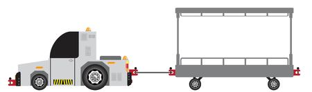 Airport Luggage Towing Truck Vector and Trailer