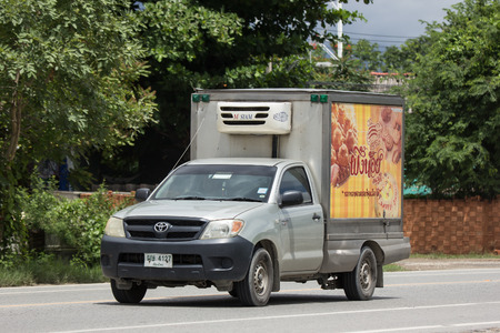 Chiangmai, Thailand - June 28 2018: Private Toyota Hilux Vigo  Pickup Truck with Container.  On road no.1001 8 km from Chiangmai city.