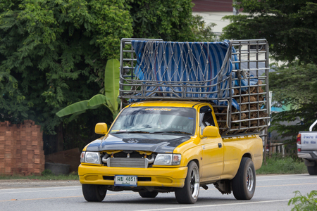 Chiangmai, Thailand - June 28 2018: Private Toyota Hilux Tiger Pickup Truck.  On road no.1001 8 km from Chiangmai city.