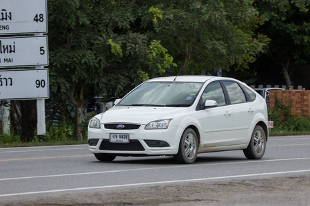 Chiangmai, Thailand - July  13 2018: Private car, Ford Focus. Photo at road no 121 about 8 km from downtown Chiangmai, thailand.