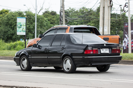 Chiangmai, Thailand - July  20 2018: Private Old Car, Saab 9000 CD Compact luxury automobile. Photo On Road 1001 to Chiangmai City.