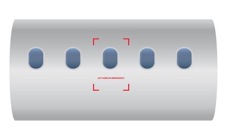 Cut here in emergency on airplane for emergenct team cut airplane