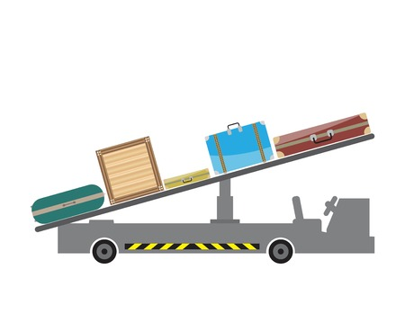Airport Belt loader Luggage Car Vector and Illustration