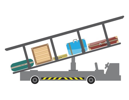Airport Belt loader Luggage Car Vector and Illustration