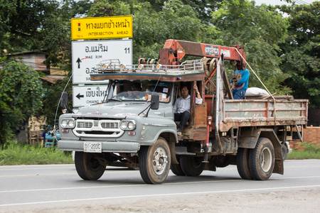 Chiangmai, Thailand - August  3 2018: Private  Old Isuzu  Cargo Truck. Photo at road no.1001 about 8 km from downtown Chiangmai, thailand. Editorial