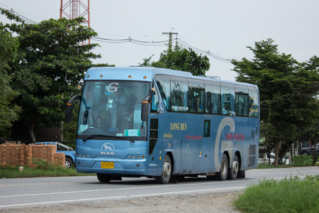 Chiangmai, Thailand - August  6 2018: Travel Bus of Swe Tran Transport Company. Photo at road in downtown of Chiangmai, thailand.