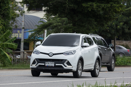 Chiangmai, Thailand - July  23 2018:  Private Suv Car MG GS. Product from British automotive. On road no.1001, 8 km from Chiangmai city.