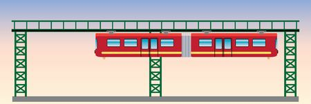 Flat DeSign of Suspension railway Vector and Illustration