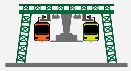Front Flat DeSign of Suspension railway Vector and Illustration