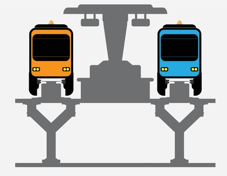 Flat Design Front View of Mono rail Vector and Illustrator Vector Illustration