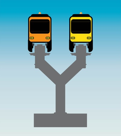 Flat Design Front View of Mono rail Vector and Illustrator
