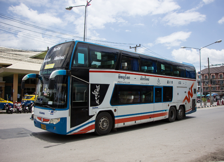 Chiangmai, Thailand - August 8 2018: Vintour company bus. Route Phitsanulok and Chiangmai. Photo at Chiangmai bus station. Editorial