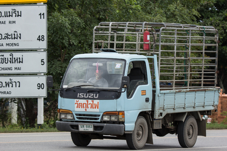 Chiangmai, Thailand - July  24 2018:  Private isuzu Gas Truck.. Photo at road no.1001 about 8 km from downtown Chiangmai, thailand.
