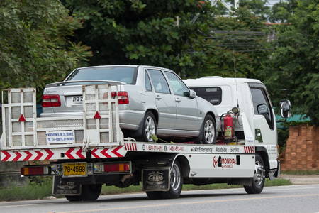 Chiangmai, Thailand - July 31 2018: TNC AutoPart Tow Truck for emergency car move. Photo at road no 121 about 8 km from downtown Chiangmai, thailand.