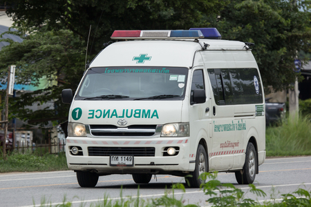 Chiangmai, Thailand - July  31 2018: Ambulance van of Doisaket hospital.  On road no.1001, 8 km from Chiangmai city.