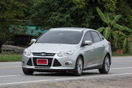 Chiangmai, Thailand - July  31 2018: Private car, Ford Focus. Photo at road no 121 about 8 km from downtown Chiangmai, thailand.