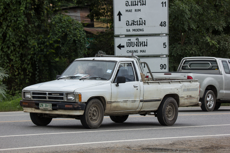Chiangmai, Thailand - July  31 2018: Private old Pickup car, Toyota Hilux Mighty X. On road no.1001, 8 km from Chiangmai city.