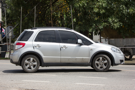 Chiangmai, Thailand - August  2 2018: Private SUV car, SUZUKI SX4. Photo at road no 121 about 8 km from downtown Chiangmai, thailand. 報道画像