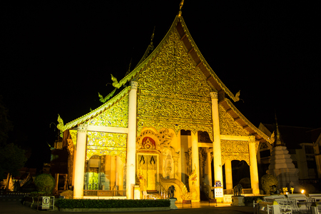 Chiangmai, Thailand - August  29 2018: Night photo of Wat Jedi Luang, Buddhist temple in the historic centre of Chiang Mai, Thailand.