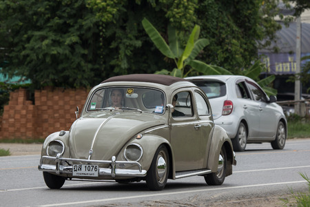 Chiangmai, Thailand - August  3 2018: Vintage Private Car, Volkswagen beetle. Photo at road no.1001 about 8 km from downtown Chiangmai, thailand. Editorial