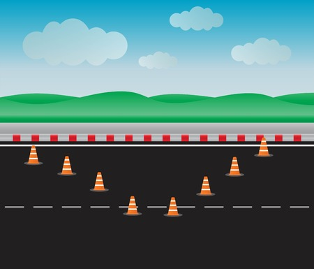 Set of Traffic cone on road with landscape background
