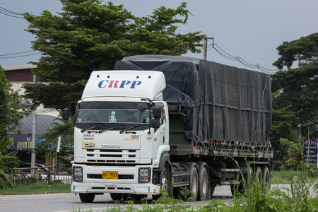 Chiangmai, Thailand - August  3 2018:  Private  Isuzu  Cargo Truck. Photo at road no.1001 about 8 km from downtown Chiangmai, thailand.